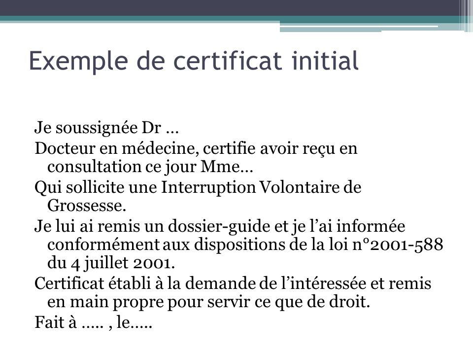 Exemple de certificat initial