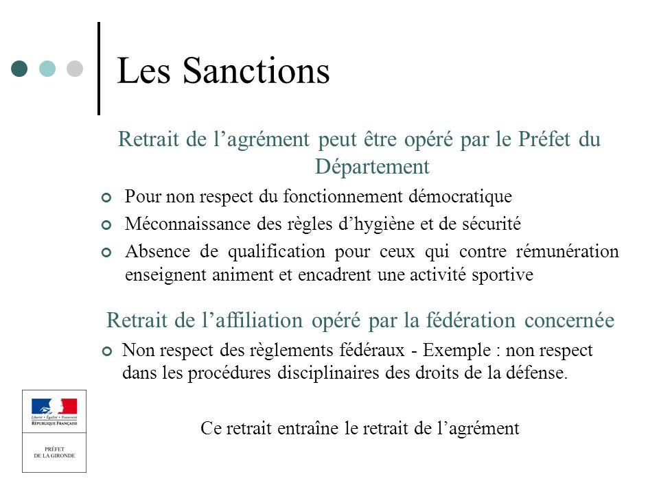 Les Sanctions Retrait de l'agrément peut être opéré par le Préfet du Département. Pour non respect du fonctionnement démocratique.