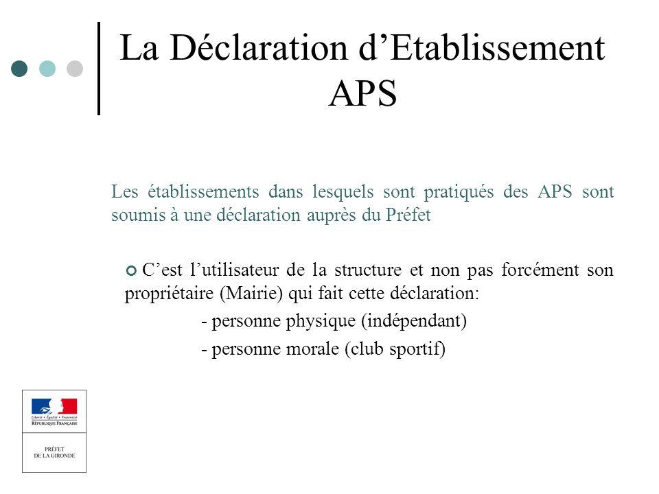 La Déclaration d'Etablissement APS