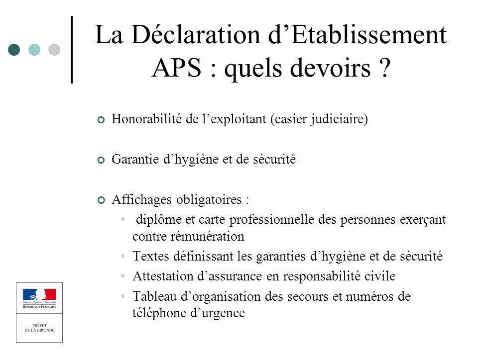 La Déclaration d'Etablissement APS : quels devoirs