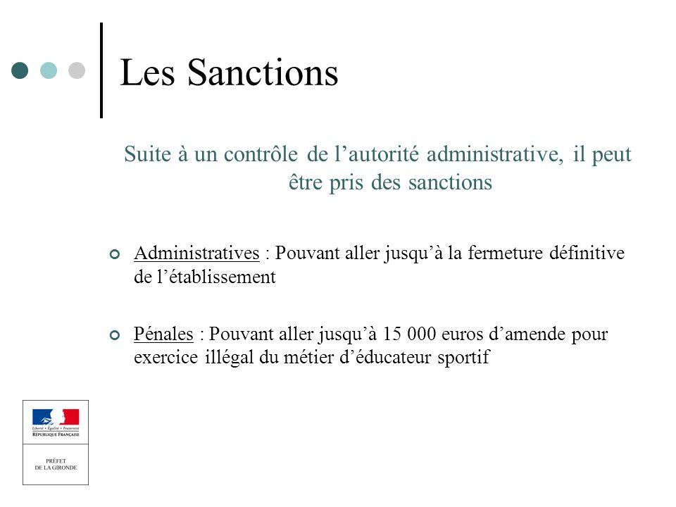 Les Sanctions Suite à un contrôle de l'autorité administrative, il peut être pris des sanctions.