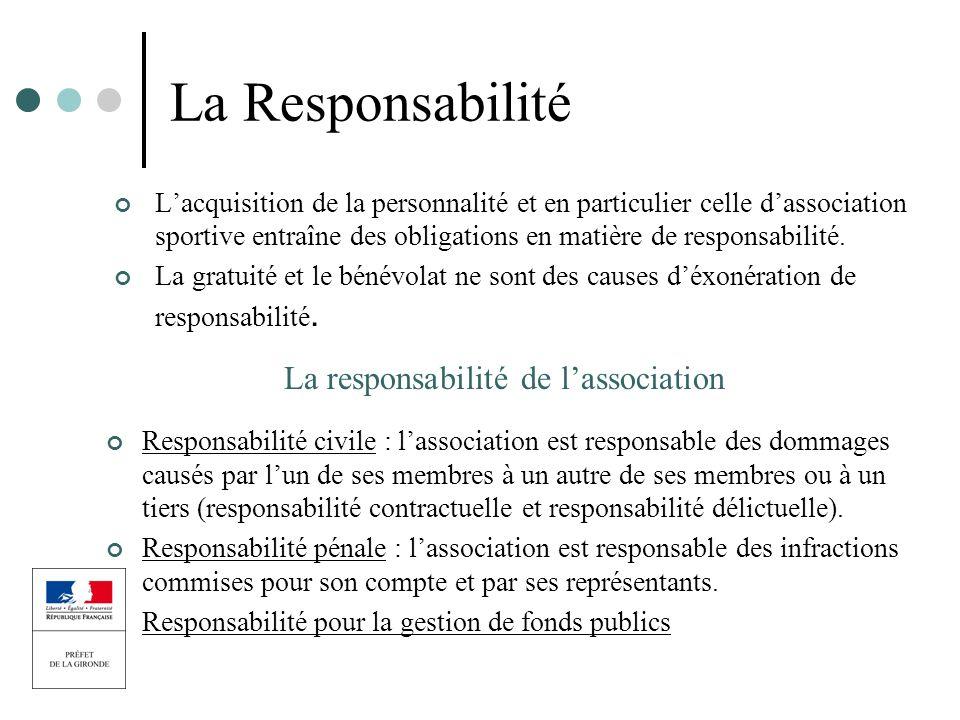 La responsabilité de l'association