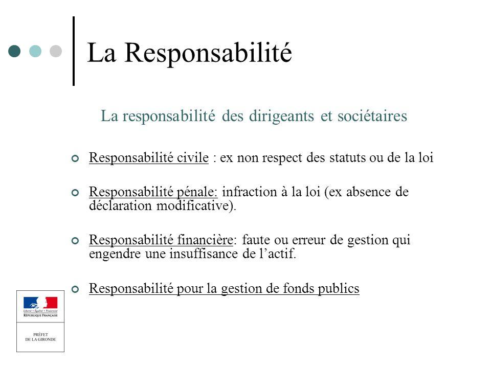 La responsabilité des dirigeants et sociétaires