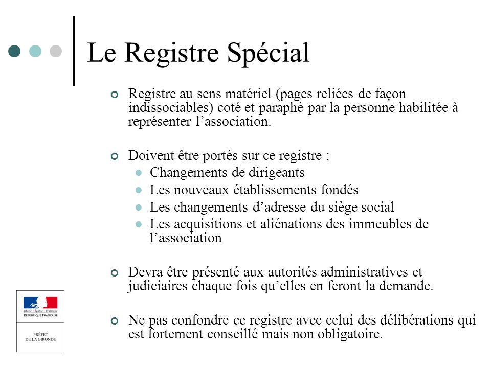 Le Registre Spécial