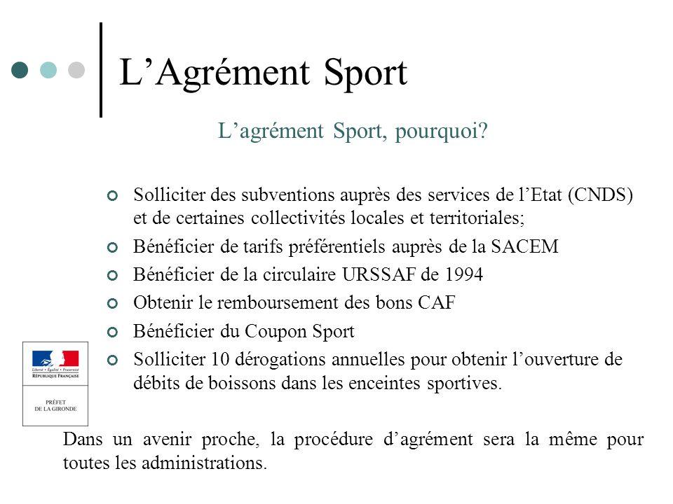 L'agrément Sport, pourquoi