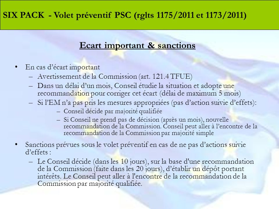 Ecart important & sanctions