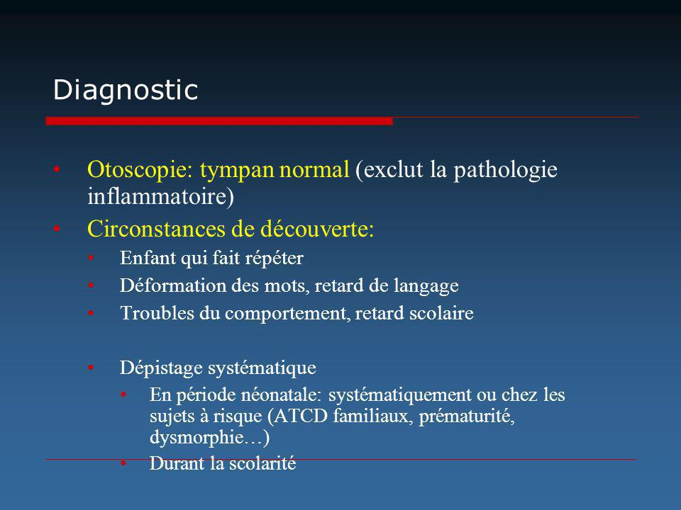 Diagnostic Otoscopie: tympan normal (exclut la pathologie inflammatoire) Circonstances de découverte: