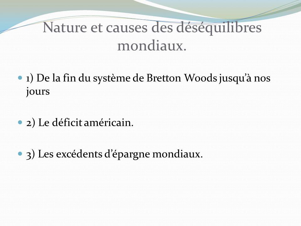 Nature et causes des déséquilibres mondiaux.