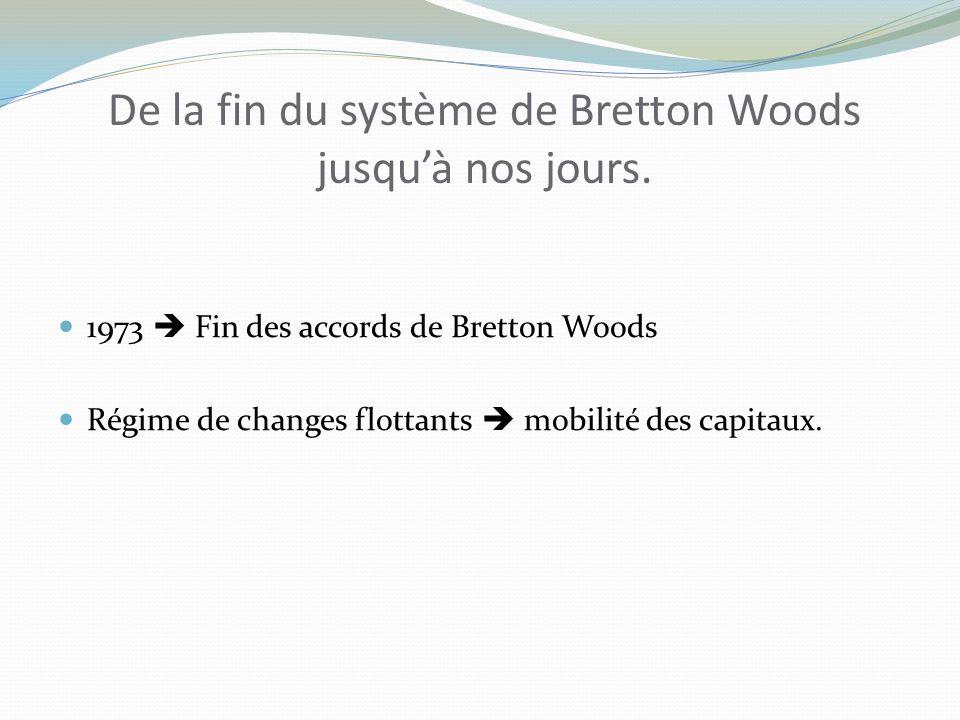De la fin du système de Bretton Woods jusqu'à nos jours.