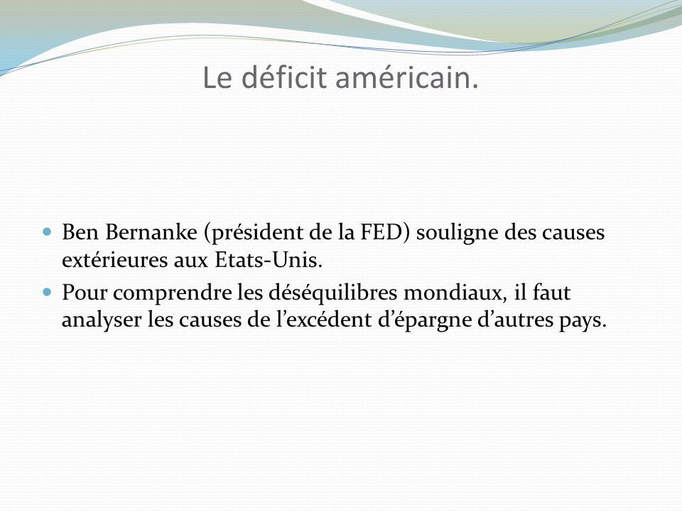 Le déficit américain. Ben Bernanke (président de la FED) souligne des causes extérieures aux Etats-Unis.