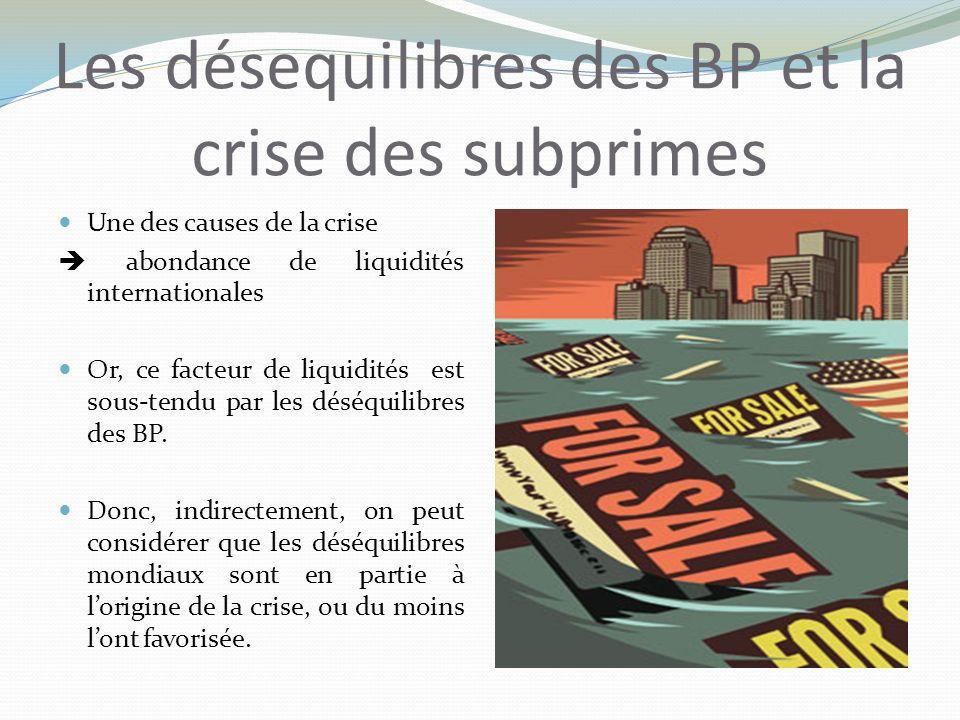 Les désequilibres des BP et la crise des subprimes