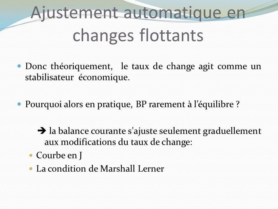 Ajustement automatique en changes flottants
