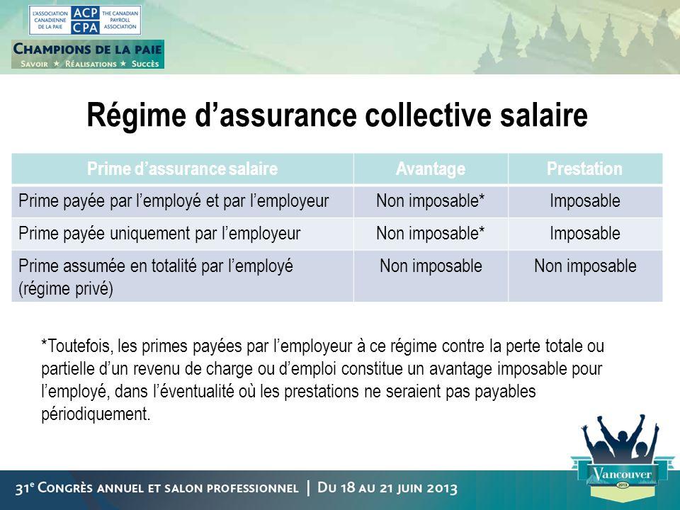 Régime d'assurance collective salaire