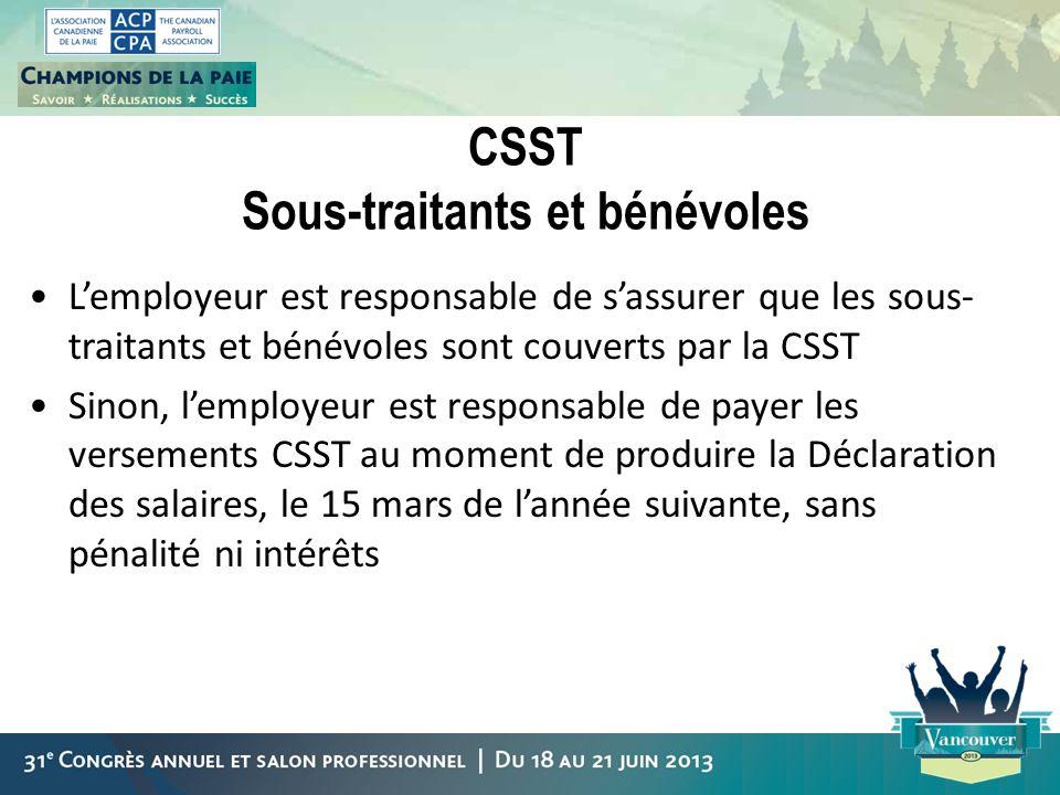 CSST Sous-traitants et bénévoles