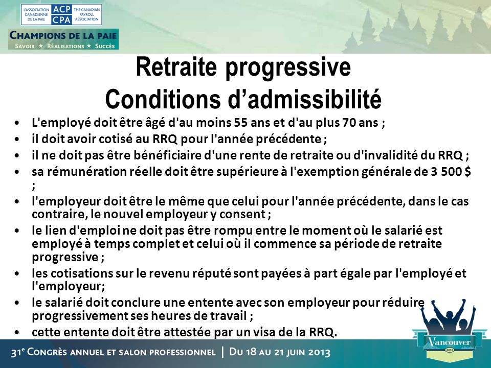 Retraite progressive Conditions d'admissibilité