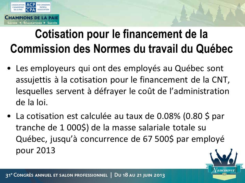 Cotisation pour le financement de la Commission des Normes du travail du Québec