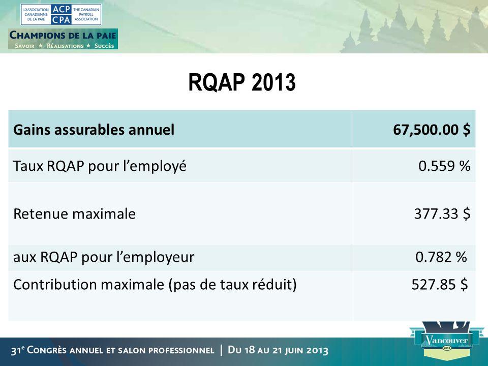 RQAP 2013 Gains assurables annuel 67,500.00 $ Taux RQAP pour l'employé