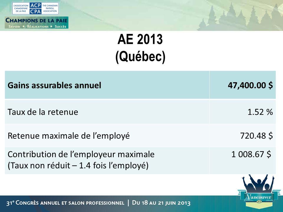 AE 2013 (Québec) Gains assurables annuel 47,400.00 $