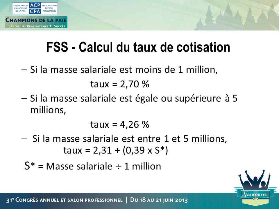 FSS - Calcul du taux de cotisation