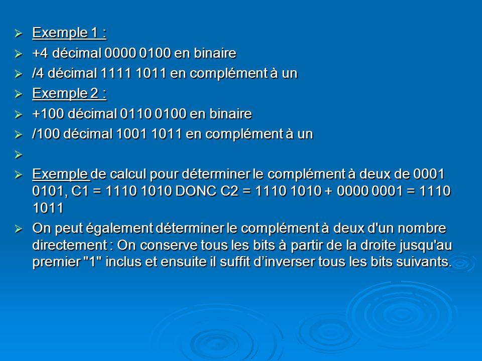 Exemple 1 : +4 décimal 0000 0100 en binaire. /4 décimal 1111 1011 en complément à un. Exemple 2 :