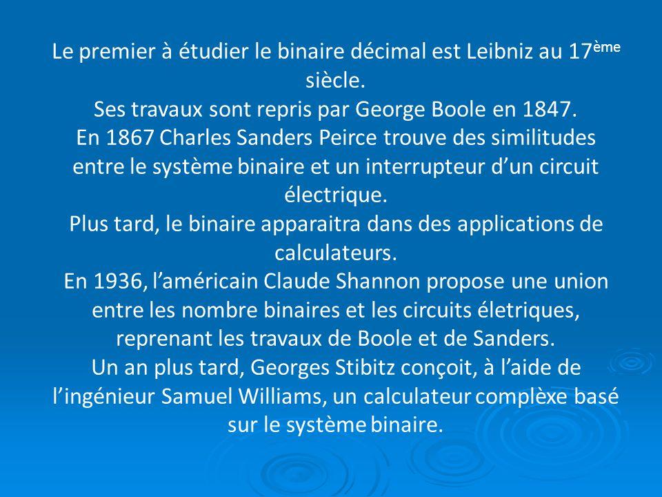 Le premier à étudier le binaire décimal est Leibniz au 17ème siècle.