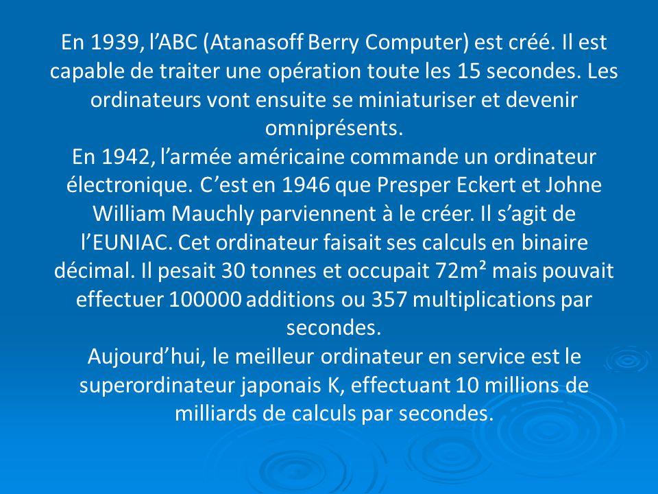 En 1939, l'ABC (Atanasoff Berry Computer) est créé