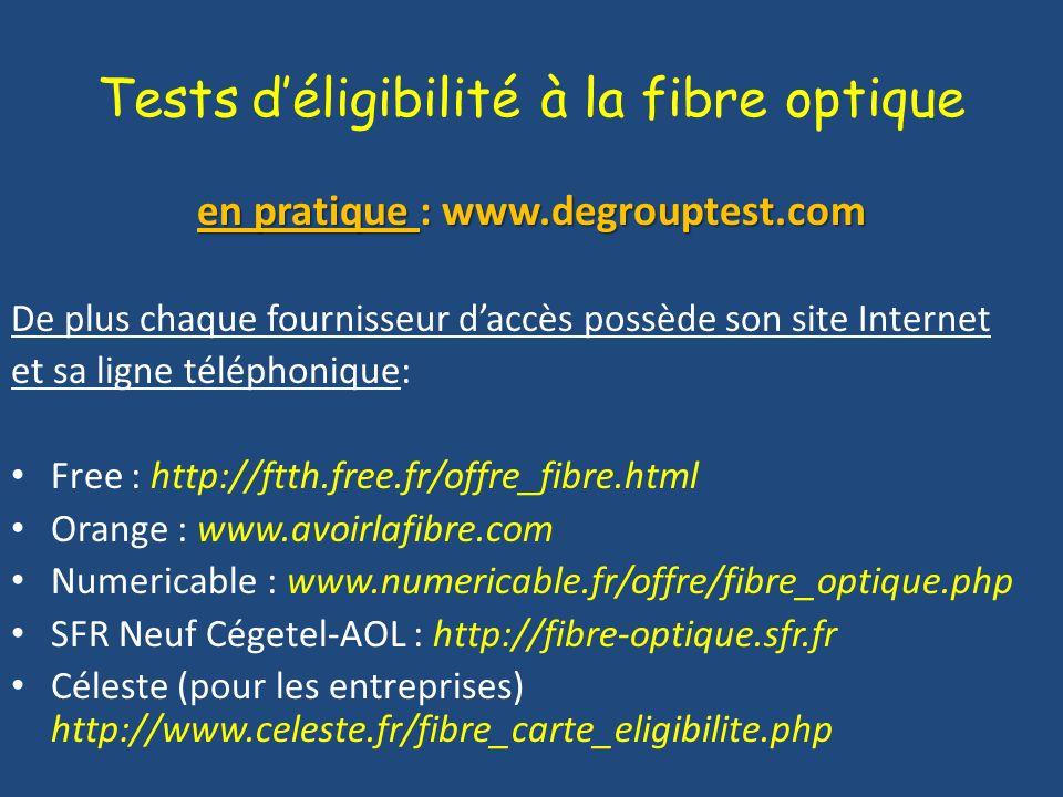Tests d'éligibilité à la fibre optique