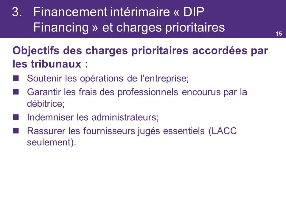 3. Financement intérimaire « DIP Financing » et charges prioritaires