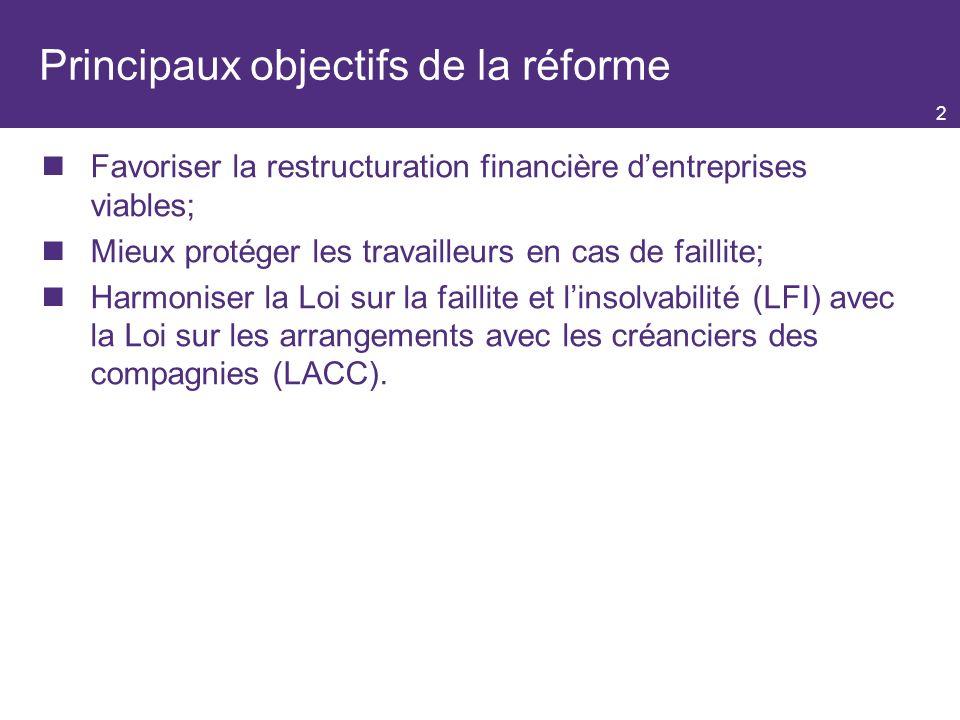 Principaux objectifs de la réforme