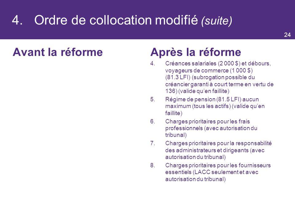 4. Ordre de collocation modifié (suite)