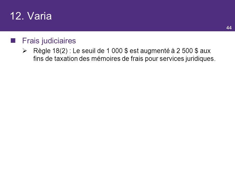 12. Varia Frais judiciaires