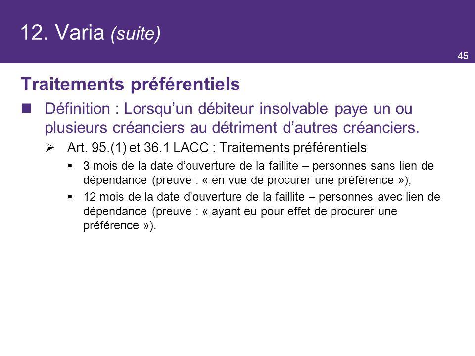 12. Varia (suite) Traitements préférentiels