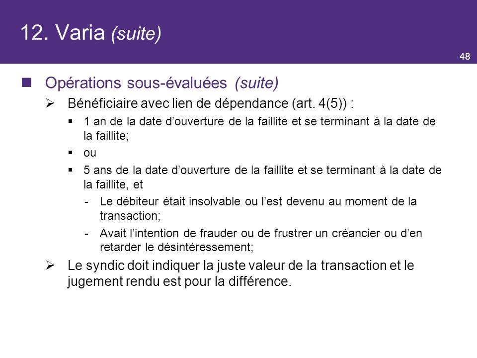12. Varia (suite) Opérations sous-évaluées (suite)