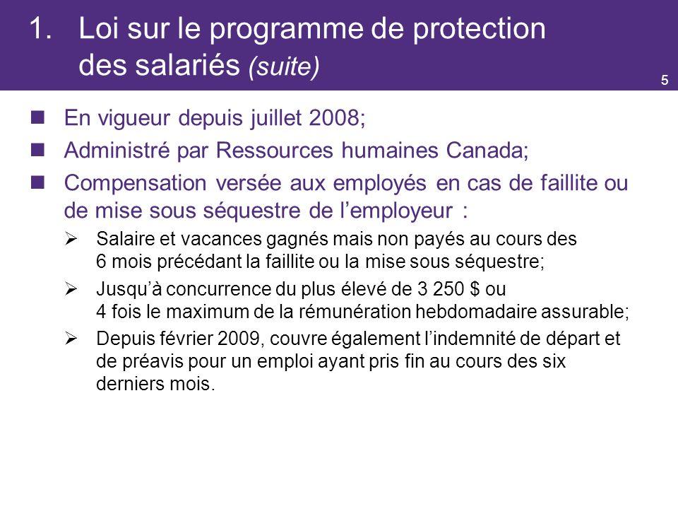 1. Loi sur le programme de protection des salariés (suite)