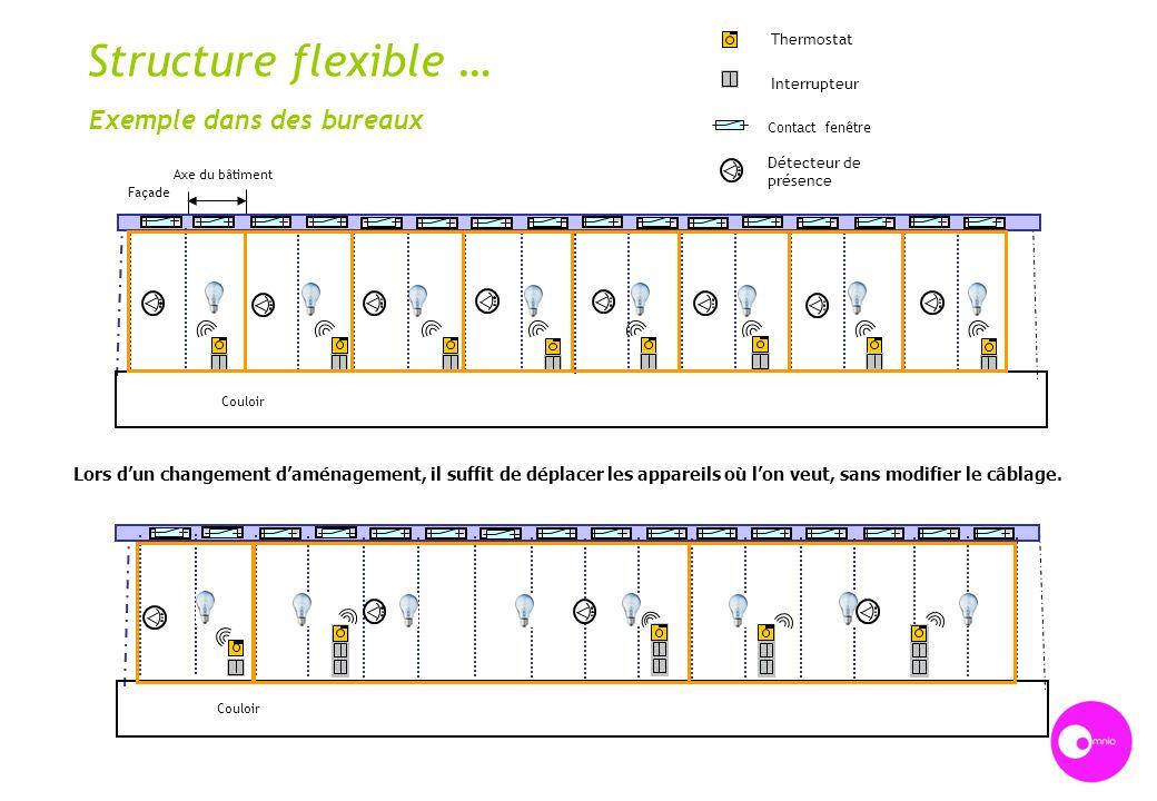 Structure flexible … Exemple dans des bureaux