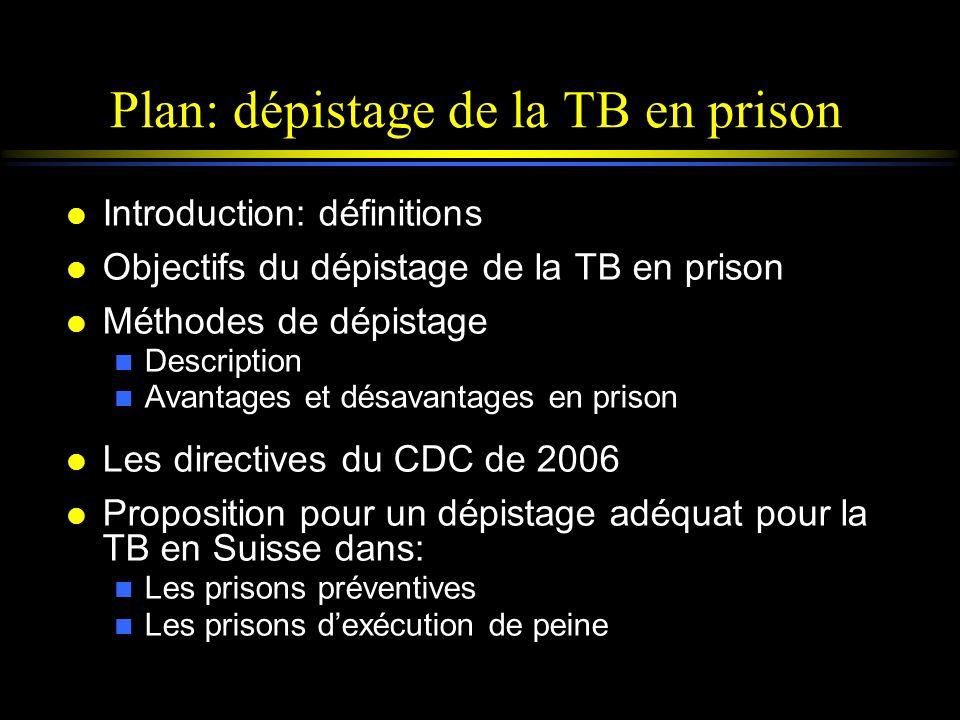 Plan: dépistage de la TB en prison