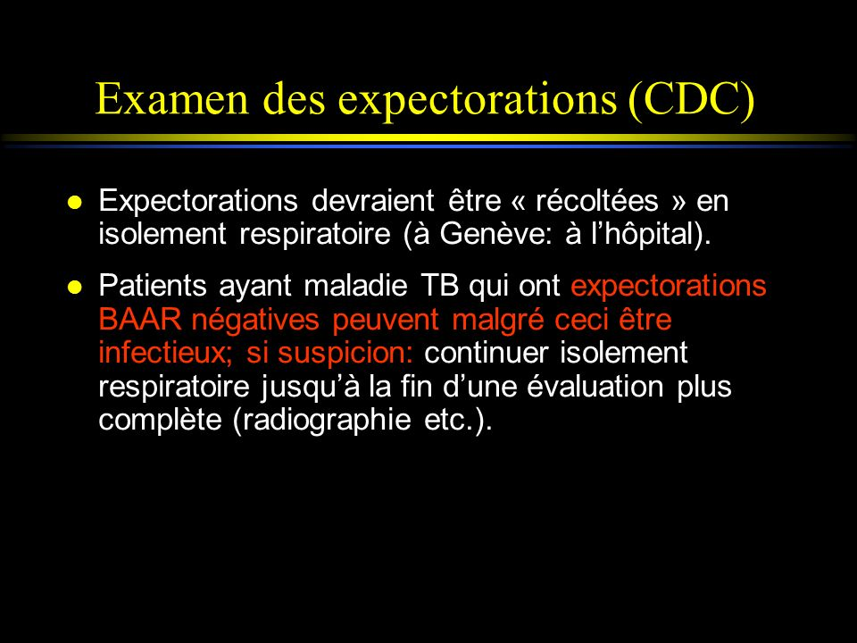 Examen des expectorations (CDC)
