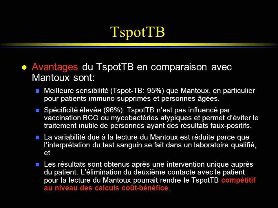 TspotTB Avantages du TspotTB en comparaison avec Mantoux sont: