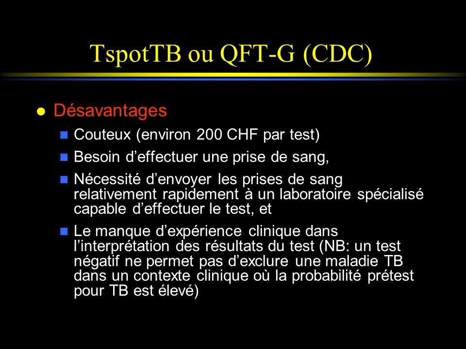 TspotTB ou QFT-G (CDC) Désavantages Couteux (environ 200 CHF par test)
