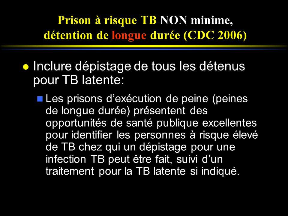 Prison à risque TB NON minime, détention de longue durée (CDC 2006)