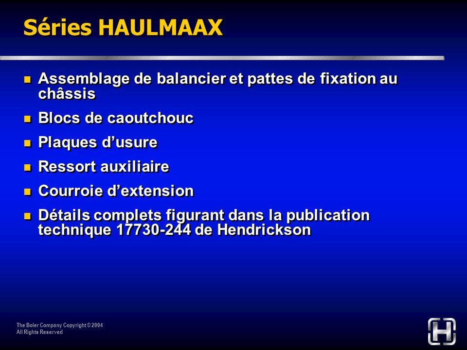 Séries HAULMAAX Assemblage de balancier et pattes de fixation au châssis. Blocs de caoutchouc. Plaques d'usure.
