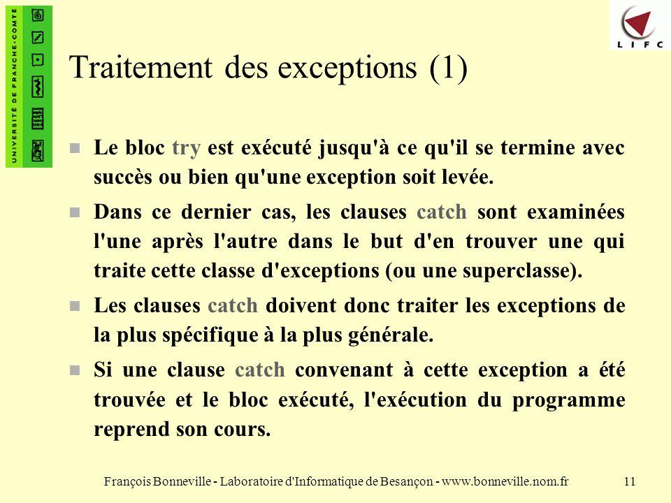 Traitement des exceptions (1)