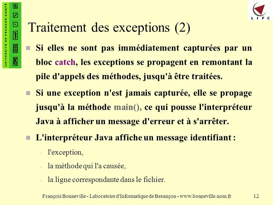 Traitement des exceptions (2)