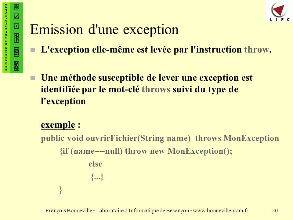 Emission d une exception