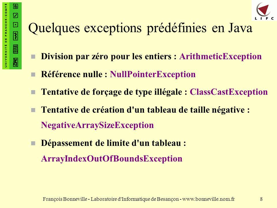 Quelques exceptions prédéfinies en Java