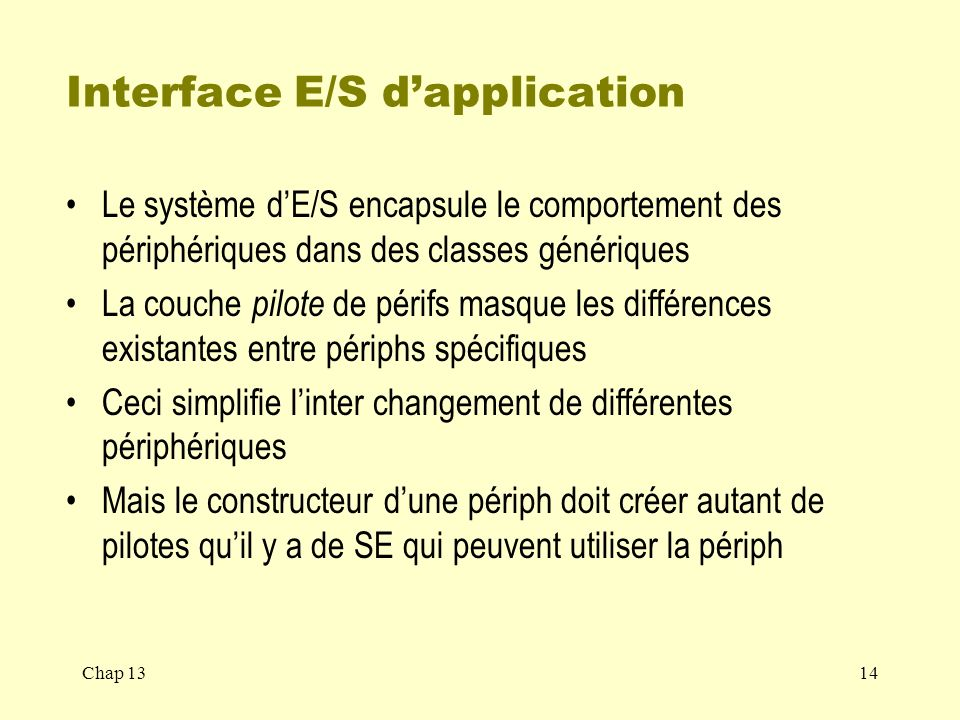 Interface E/S d'application