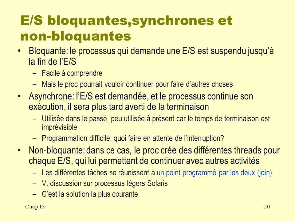 E/S bloquantes,synchrones et non-bloquantes