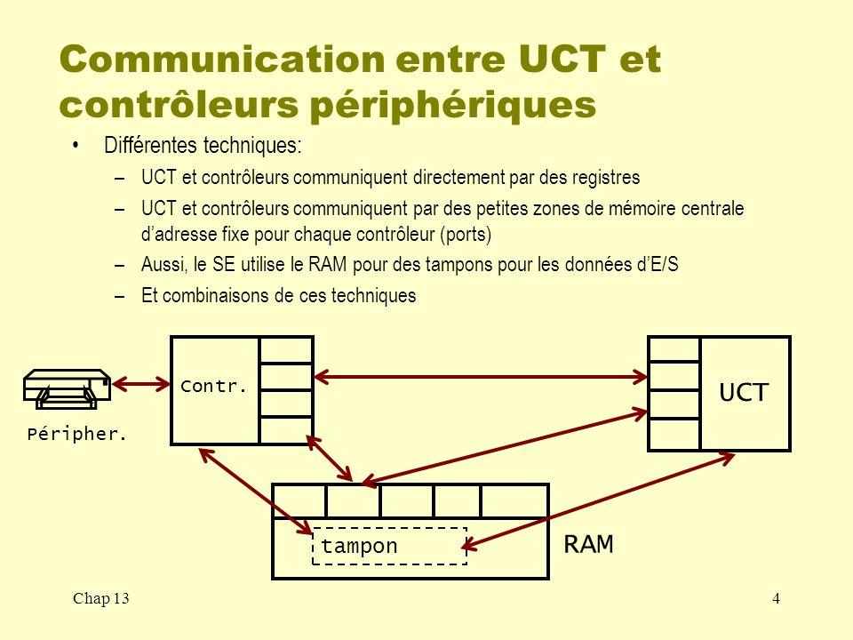 Communication entre UCT et contrôleurs périphériques