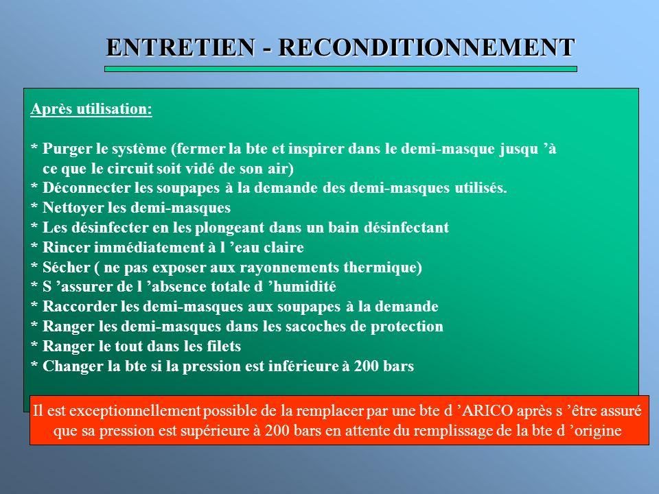 ENTRETIEN - RECONDITIONNEMENT