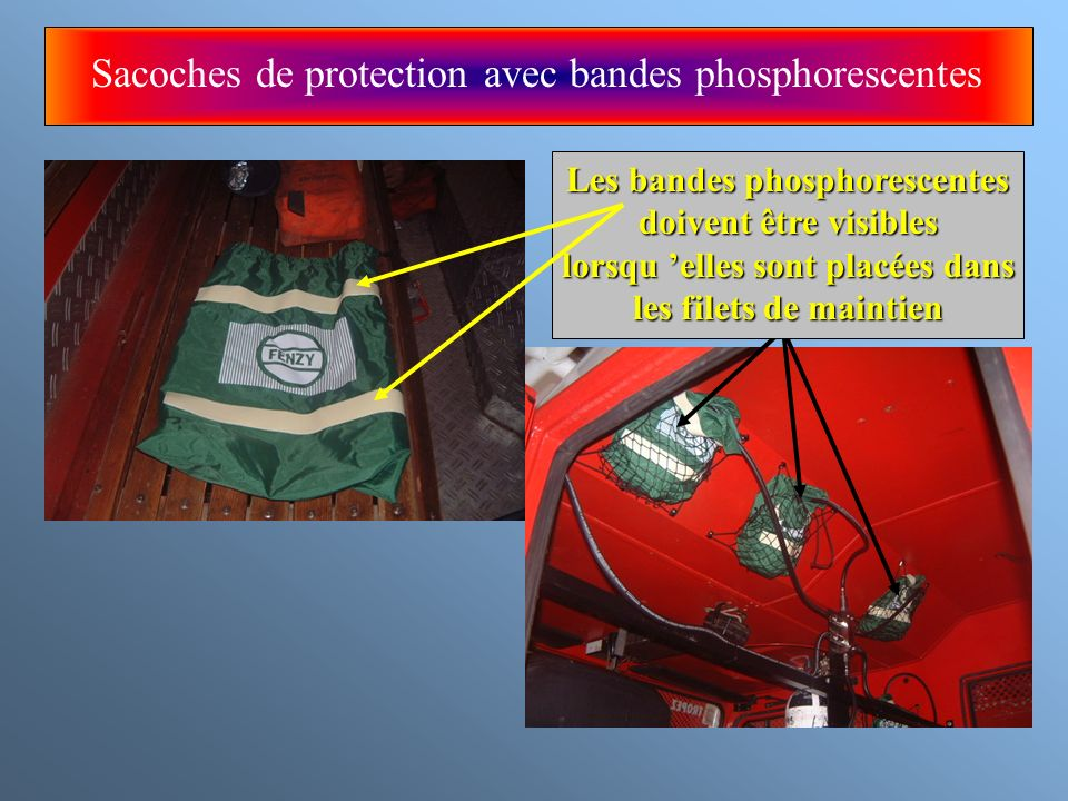 Sacoches de protection avec bandes phosphorescentes